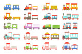 Toy trains set, colorful locomotives and wagons vector Illustrations