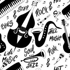 Jazz music seamless pattern © savvalinka