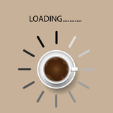 Coffee cup with funny progress bar Productivity loading, awakeness-related concept