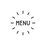 Menu text line icon. linear style sign for mobile concept and web design. Menu lettering outline vector icon. Symbol, logo illustration. Pixel perfect vector graphics