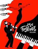 Jazz music festival poster with with musical instruments.