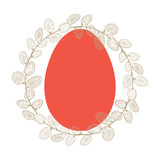 Pussy Willow wreath and festive Easter egg. Easter background. Vector illustration on a white background. Perfect as a greeting card, invitation or element for design.