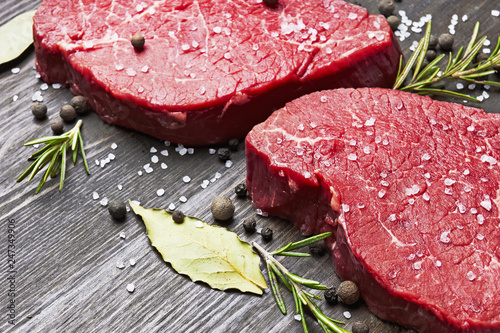 Fresh raw meat with spice - 247349906