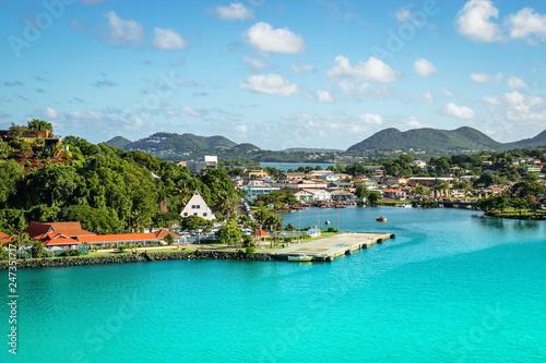 Leinwanddruck Bild Castries, St Lucia cruise port.