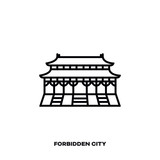 Forbidden City at Beijing, China, vector line icon.