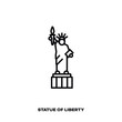 Statue of Liberty, New York, USA, vector line icon.