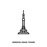 Oriental Pearl Tower at Shanghai, China vector line icon.