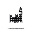Palace of Westminster with Big Ben at London, England vector line icon.