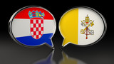 Croatia and Vatican City flags with Speech Bubbles. 3D illustration