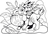cute little dragon toad, coloring book, funny illustration