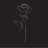 One line drawing flower, vector illustration