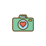 Love story, photo camera flat icon, vector sign, colorful pictogram isolated on white. Photo camera with heart symbol, logo illustration. Flat style design - 247367704