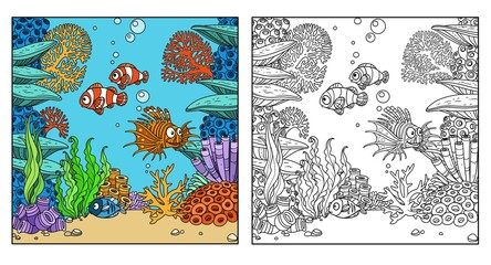 Underwater world with corals, seaweed and fishes color and outlined for coloring page isolated on white background