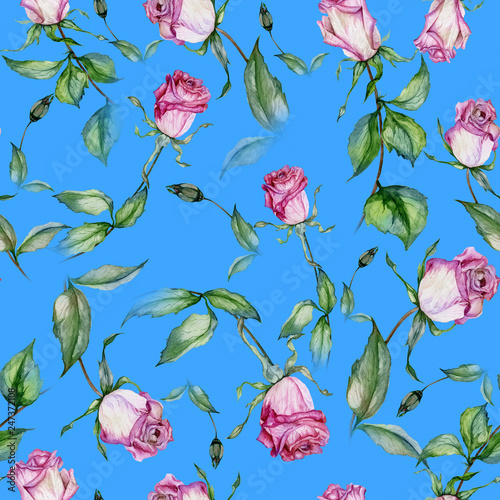 Beautiful pink roses and green leaves on blue background. Seamless floral pattern. Watercolor painting. Hand drawn and painted illustration. © katiko2016