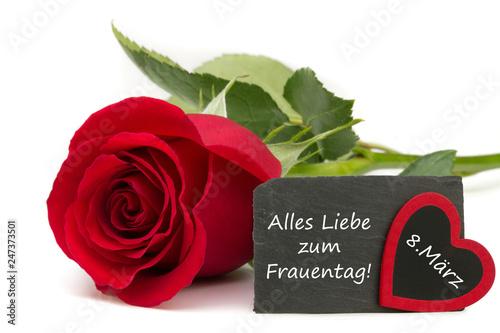 Leinwanddruck Bild Frauentag 8.März / rote Rose mit Schiefertafel