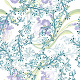 Blue iris floral botanical flower. Watercolor background illustration set. Seamless background pattern.