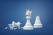3d rendering of white pawn with a smiley face wears a golden crown and stands near a broken chess king.