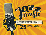 Vector music poster or banner with calligraphic inscription Jazz music and realistic microphone on a background with bright rays in retro style