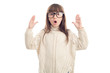 Surprised girl in glasses shows hands up, isolated on white background.
