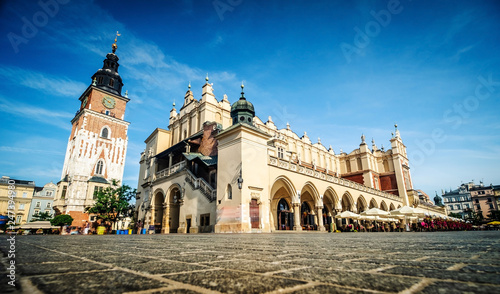 Central market square in Krakow, Poland