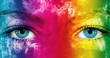 Leinwanddruck Bild - Rainbow color face