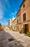 Empty street in Alcudia old town, Mallorca, Spain.