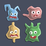 Set of cartoon monsters. Cute monsters colorful doodles - Vector