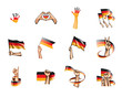 Germany flag and hand on white background. Vector illustration