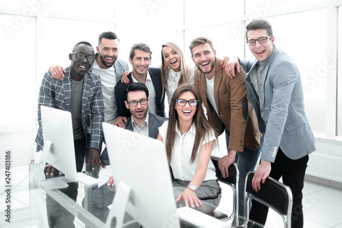 portrait of a modern business team in the workplace