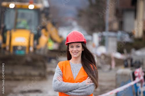 Leinwandbild Motiv Woman engineer on construction site