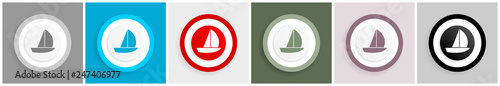 Yacht icon set, vector illustrations in 6 options for web design and mobile applications