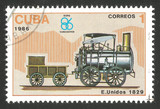 Cuba - CIRCA 1986: Stamp printed by Cuba, Multicolor memorable edition offset printing on the topic of railway, series devoted Locomotives, shows Stourbridge Lion 1829