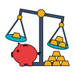 piggy bank gold bars scale stock market