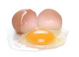 Broken egg isolated on white background - 247416712
