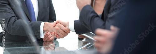 close-up of business handshake.panoramic photo
