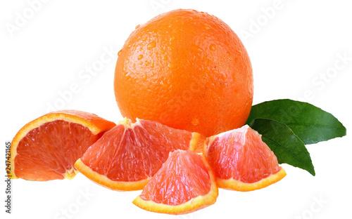 Blood orange slice isolated
