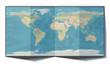 Leinwanddruck Bild - Cartina mondo, Venezuela, disegnata su un foglio piegato, planisfero appoggiato su una superficie. Cartina fisica. 3d rendering