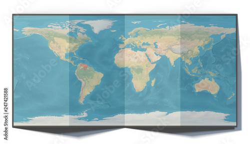 Leinwanddruck Bild Cartina mondo, Venezuela, disegnata su un foglio piegato, planisfero appoggiato su una superficie. Cartina fisica. 3d rendering