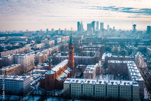 fototapeta na ścianę Warszawa z lotu ptaka