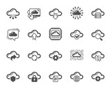 Cloud data and technology icons. Set of Hosting, Computing data and File storage icons. Archive, Download, Share cloud files. Sync technology, Web server, Storage access. Quality design element