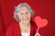 Grandma with heart shaped sign