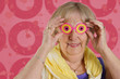 Funny granny with pink glasses