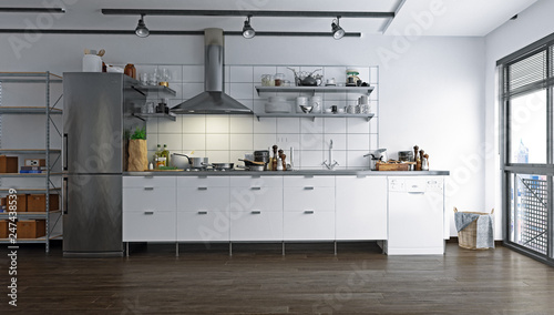 loft kitchen interior. © victor zastol'skiy