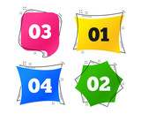 Step one, two, three and four icons. Sequence of options symbols. Loading process signs. Geometric colorful tags. Banners with flat icons. Trendy design. Vector - 247439102