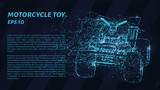 Motorcycle toy made of particles on a dark background. Children's motorcycle of circles and points.