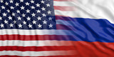 USA and Russia relations. US of America and Russia flags background. 3d illustration