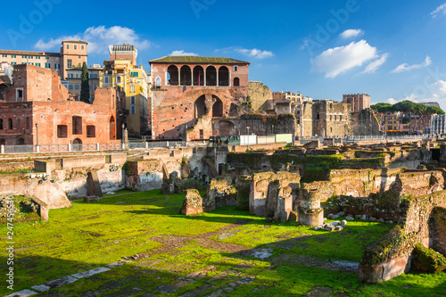 Ruins of the Trajan Forum in Rome, Italy