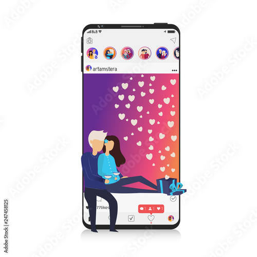 Smartphone, mobile realistic style. Flat design. Social media photo app, Picture on display with people, man and woman, gift box, heart, like. Instagram Style.