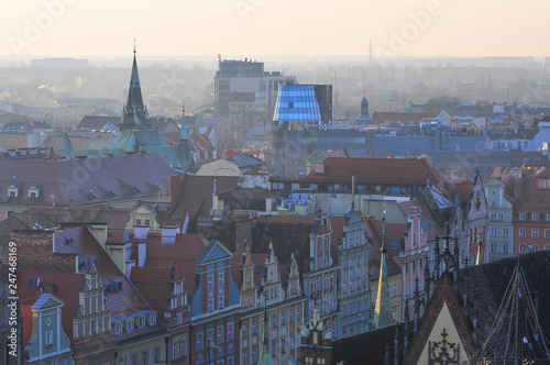 mata magnetyczna Aerial View of Wroclaw During Sunset Colorful Architecture