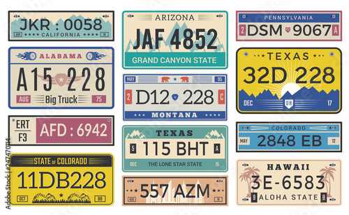 Automobile Plate License Utah Usa Or Indiana Diffe State Car Registration Template Vector Design